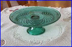 Anchor Hocking Wexford Teal Green Diamond Cut Pedestal Stand Round Cake Plate