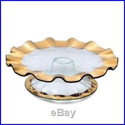Annieglass Ruffle 14.25 Gold Pedestal Cake Plate