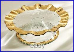 Annieglass Ruffle Series Pedestal Cake Plate, 5 High, Gold