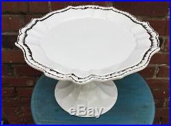 Anthropologie Ceramiche Virginia Cake Pedestal Plate Dish Whit Silver Italy dish