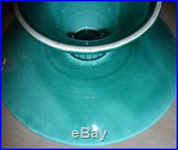 Antique 1912 Teal CICO Germany Majolica Lily of the Valley Pedestal Cake Plate