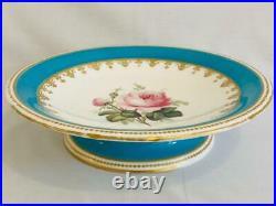 Antique 19thc Minton Rose Turquoise Cake Plate Pedestal Gold Gilt c1859 #A2769