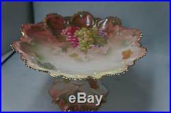 Antique Austria Pedestal Cake Plate Scalloped Handpainted Grapes Gold Accents