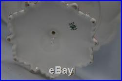 Antique Austria Pedestal Cake Plate Scalloped Handpainted Grapes Gold Accents