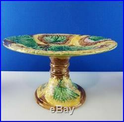 Antique Begonia Leaf Majolica Cake Pedestal Stand Serving Cupcake Dessert Plate
