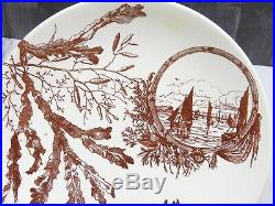 Antique Brown Transferware Pedestal Cake Stand Plate Aesthetic Movement Sailboat