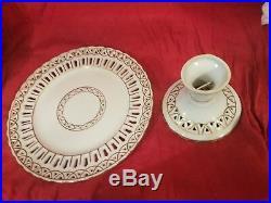 Antique Ceramic Collapsible Dual Purpose Pedestal Cake Pie Plate