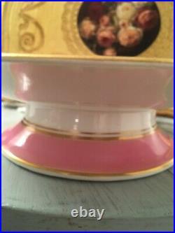 Antique Coalport Pink Handpainted Roses Flowers Tazza Pedestal Plate Cake Plate