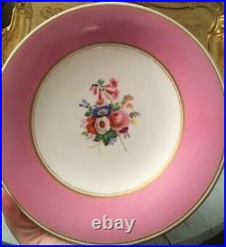 Antique Coalport Pink Handpainted Roses Flowers Tazza Pedestal Plate Cake Stand