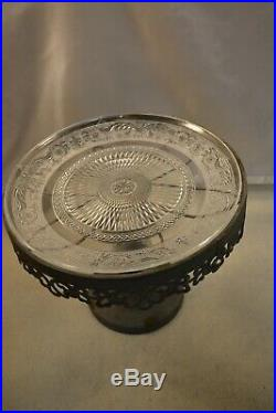 Antique/Country Look Metal Cake Plate Pedestal w Glass Designed Plate #715104