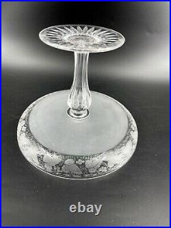 Antique Cut Glass Pedestal Cake Stand Plate Store Display Etched Ivy England