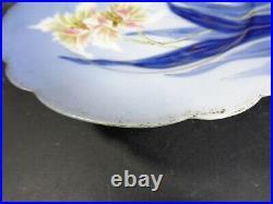 Antique D & C° R Delinières et Cie Limoges floral Pedestal Cake Plate Footed
