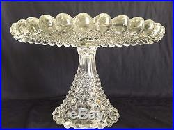 Antique Duncan & Miller Glass Pedestal Cake Stand Plate Giant Hobnail