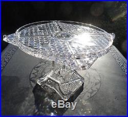 Antique EAPG Ashman Cross Roads Pedestal Cake Plate Diamond Bar Adams & Co