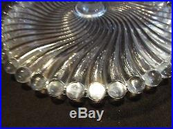 Antique EAPG McKee Glass Swirl & ball Cake Stand Plate with Pedestal 8 tall Vtg