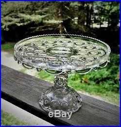 Antique EAPG Moon and Star Skirted Pattern Glass Cake Plate Pedestal Stand