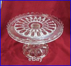 Antique EAPG Teardrop Row Pedestal Cake Stand Plate by Bryce Higbee circa 1895
