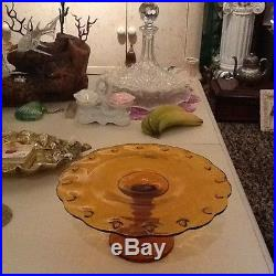 Antique French Oh La La Pretty Amber Cake Plate On A Pedestal MID Century Modern