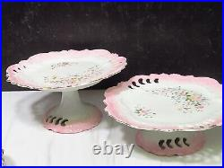 Antique French Porcelain Reticulated 2 Pedestal Cake Stands & 4 Dessert Plates
