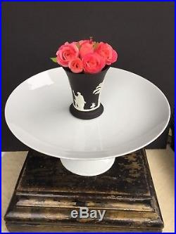 Antique French White Porcelain White Ironstone Cake Plate Compote Pedestal Bowl