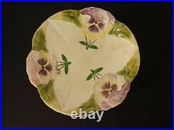 Antique H & Boulanger Choisy le Roi France Pansies Majolica Pedestal Cake Plate