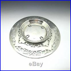 Antique Hand Engraved Pierced Sterling Silver 10 Pedestal Cake Plate Dish 366g