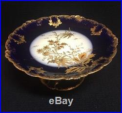 Antique Hand painted Haviland Limoges GDA C. H. Field Cobalt Cake Plate Pedestal