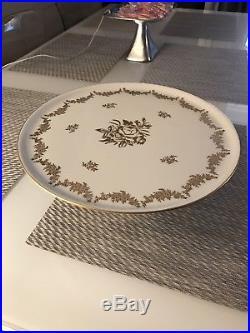 Antique Limoges France Painted Gold Roses Gilt Large Pedestal Cake Plate, 12.5