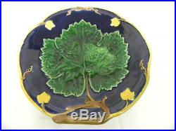 Antique Majolica Green Grape Vine and Leaf 9 1/2 Pedestal Cake Plate C. 1900