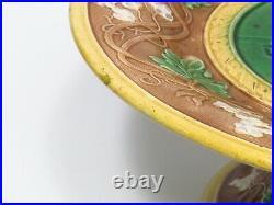 Antique Majolica Pedestal Cake Stand Center Portrait Lady w Tea Leaves Vine