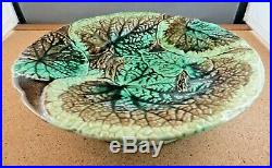 Antique Majolica Pottery Green Begonia Leaf Pedestal Cake Cheese Plate Stand 9