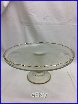 Antique Ornate Pressed Glass Cake Plate Pedestal Gold Trim LAIR Design Dessert