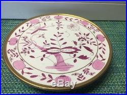 Antique PINK Onion Pedestal Cake Plate 11 1/8 Villeroy & Boch Dresden Germany