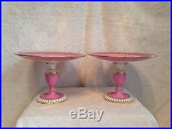 Antique Pair Pink Footed Compote Pedestal Cake Plate, TC Brown-Westhead Moore