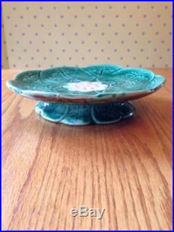 Antique VICTORIAN MAJOLICA Pond Lilly PEDESTAL Plate / Cake Stand COMPORT LEAF