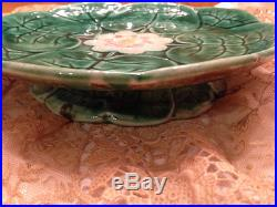 Antique VICTORIAN MAJOLICA Pond Lily PEDESTAL Plate / Cake Stand COMPORT
