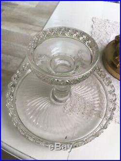 Antique Victorian CAKE Stand Plate Pedestal Diagonal Wedding Ring Quilt Design