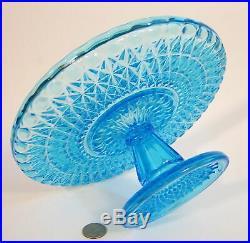 Antique Victorian CENTRAL Glass Blue PRESSED DIAMOND Pedestal Cake Stand Plate