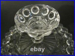 Antique Victorian DALZELL Glass EYEWINKER Pedestal 8.5 Cake Stand Plate EAPG