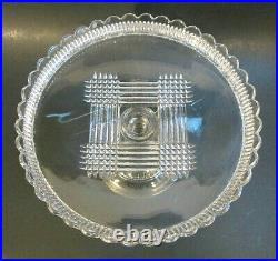 Antique Victorian DALZELL Glass QUAKER LADY Pedestal 10 Cake Stand Plate EAPG