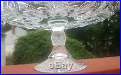 Antique Vintage Elegant Glass Pedestal Cake Stand Plate EAPG Fleur de Lis LOVELY