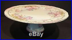 Antique Vintage Hand Painted KPM Cake Stand Plate Pedestal Footed Lovely Roses