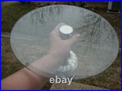 Antique Vtg Rare Alpaca Silver Abalone Shell Glass Pedestal Cake Plate Stand