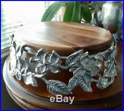 Arthur Court 13 Magnolia Repousse Silver Pedestal Cake Plate
