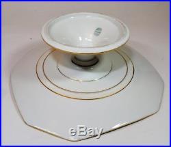 Atq GD&C LIMOGES China Gold FLEUR de LIS Decor 8 1/2 x 3h Pedestal Cake Plate