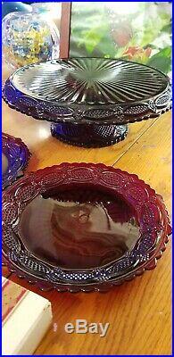 Avon Cape Cod 1876 Ruby Red Glass PEDESTAL CAKE PLATE, DESSERT SERVER, 12 Plates