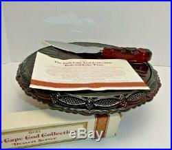 Avon Ruby Red Cape Cod Round 11 Glass Pedestal Cake Plate withServe MIB
