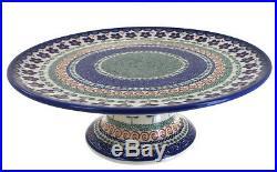 Aztec Flower Pedestal Cake Plate Polish Pottery