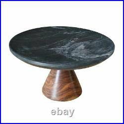 BIDKHome Black Marble and Wood Pedestal Cake Stand 12 Dia x 6 1/2H