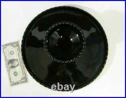 BIG 11 Opaque Black Glass HOBNAIL Pedestal Footed Cake Stand Display Plate